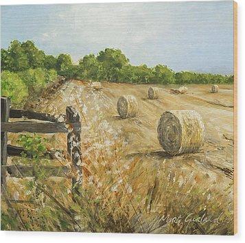 Fields Of Hay Wood Print