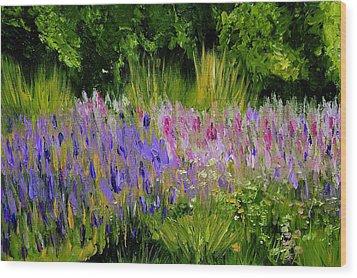 Fields Of Purple Wood Print by Lisa Konkol