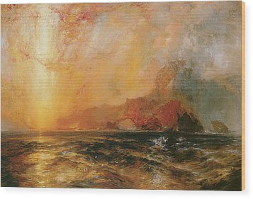 Fiercely The Red Sun Descending Burned His Way Along The Heavens Wood Print by Thomas Moran