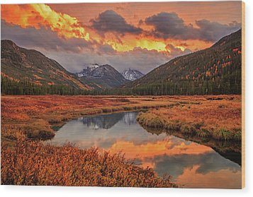 Wood Print featuring the photograph Fiery Bear River Sunset by Johnny Adolphson
