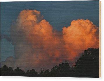 Fiery Cumulus Wood Print by Kathryn Meyer
