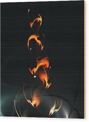 Wood Print featuring the digital art Fiery Flower by Anastasiya Malakhova