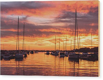 Fiery Lake Norman Sunset Wood Print