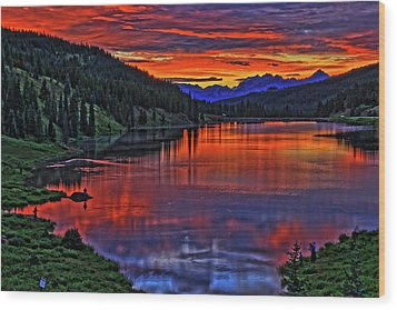 Wood Print featuring the photograph Fiery Lake by Scott Mahon