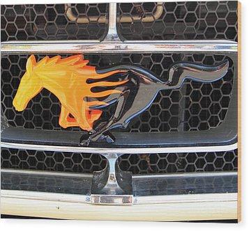 Fiery Mustang Wood Print