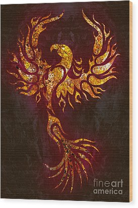 Fiery Phoenix Wood Print by Robert Ball