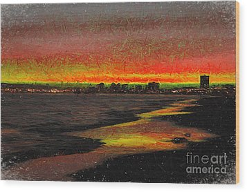 Wood Print featuring the digital art Fiery Sunset by Mariola Bitner