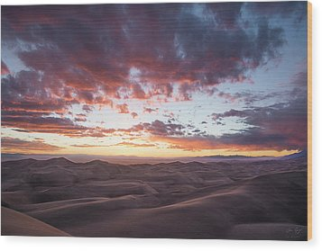 Fiery Sunset Over The Dunes Wood Print by Aaron Spong