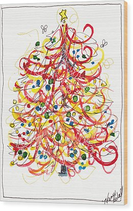 Fiesta Christmas Tree Wood Print by Michele Hollister - for Nancy Asbell