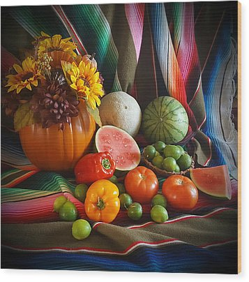 Wood Print featuring the painting Fiesta Fall Harvest by Marilyn Smith