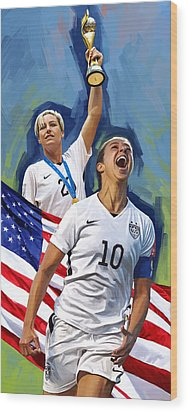 Wood Print featuring the painting Fifa World Cup U.s Women Soccer Carli Lloyd Abby Wambach Artwork by Sheraz A