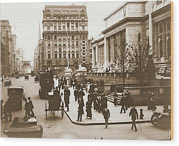 Fifth Avenue And New York City Public Library 1908 Wood Print by Padre Art