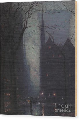 Fifth Avenue At Twilight Wood Print by Lowell Birge Harrison