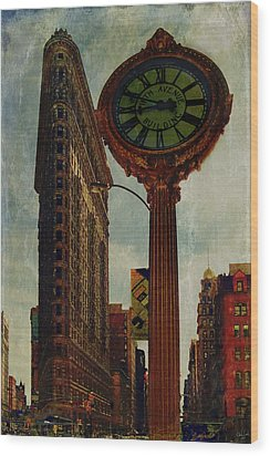 Fifth Avenue Clock And The Flatiron Building Wood Print by Chris Lord