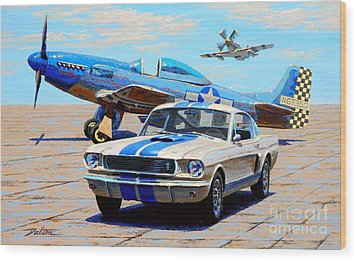 Fighter And Shelby Mustangs Wood Print by Frank Dalton