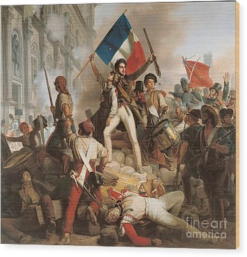 Fighting At The Hotel De Ville Wood Print by Jean Victor Schnetz