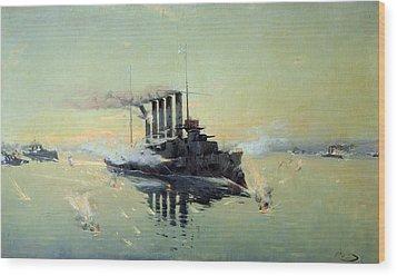 Fighting On July In The Yellow Sea Wood Print by Konstantin Veshchilov