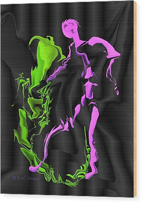 Wood Print featuring the digital art Fighting The Demon by Kae Cheatham