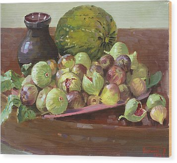 Figs And Cantaloupe Wood Print by Ylli Haruni