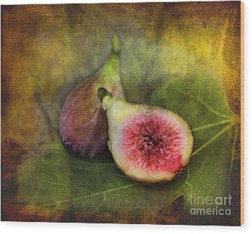 Figs Wood Print by Sari Sauls