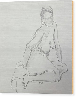Figure Drawing Class Wood Print by Janet Butler