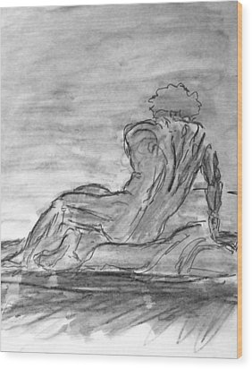 Figure Sketch In Monochrome Black White Arched And Curved Twisted Back Leaning On One Hand In Seated Wood Print