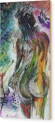 Wood Print featuring the mixed media Figure Study 1 by Lisa McKinney