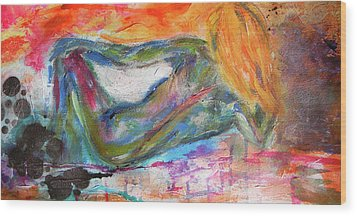 Wood Print featuring the mixed media Figure Study 2 by Lisa McKinney