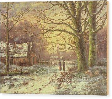 Figures On A Path Before A Village In Winter Wood Print by Johannes Hermann Barend Koekkoek