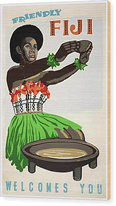 Fiji Restored Vintage Travel Poster Wood Print