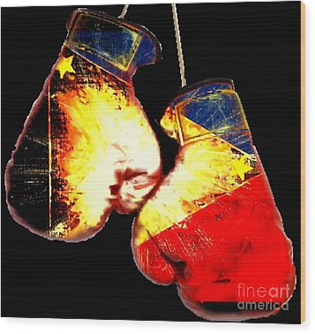 Filipino Boxer Wood Print by Teo Alfonso