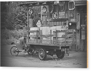 Fill Er Up          B And W Wood Print