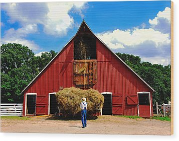 Filling The Haymow Wood Print by Lyle  Huisken