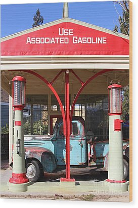Filling Up The Old Ford Jalopy At The Associated Gasoline Station . Nostalgia . 7d12884 Wood Print by Wingsdomain Art and Photography