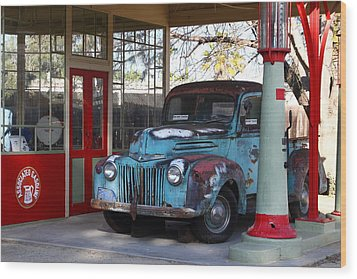 Filling Up The Old Ford Jalopy At The Associated Gasoline Station . Nostalgia . 7d13021 Wood Print by Wingsdomain Art and Photography
