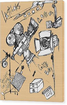 Film Set Wood Print by Michael De Alba