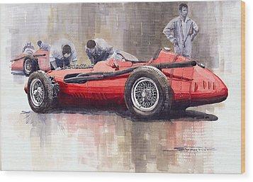 Final Check Before The Start Maserati 250 F 1957 Wood Print by Yuriy  Shevchuk