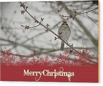 Wood Print featuring the mixed media Finch Christmas by Trish Tritz