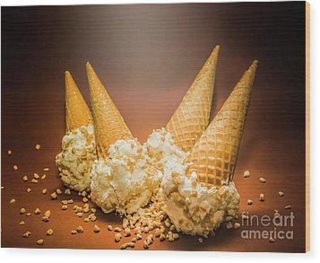 Fine Art Ice Cream Cone Spill Wood Print by Jorgo Photography - Wall Art Gallery