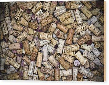 Fine Wine Corks Wood Print by Frank Tschakert