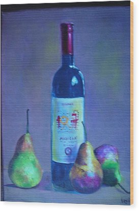 Fine Wine Paintings - A French Wine With Pears Wood Print by Virgilla Lammons