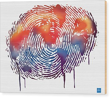 Finger Print Map Of The World Wood Print