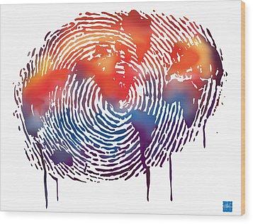 Finger Print Map Of The World Wood Print by Sassan Filsoof