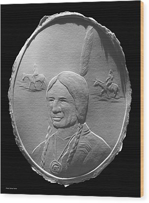 Wood Print featuring the relief Fingernail Relief Drawing Of American Indian  by Suhas Tavkar