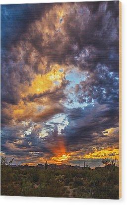 Finger Painted Sunset Wood Print by Rick Furmanek