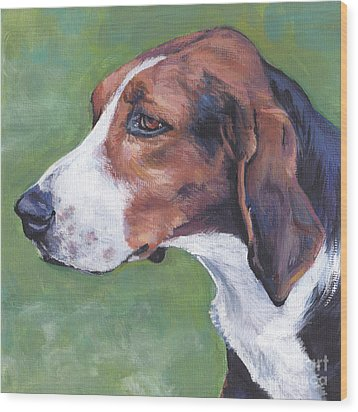 Wood Print featuring the painting Finnish Hound by Lee Ann Shepard