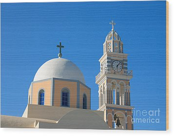 Fira Catholic Cathedral Horizontal Wood Print by Paul Cowan