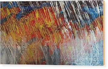 Wood Print featuring the painting Fire And Ice by Lori Jacobus-Crawford