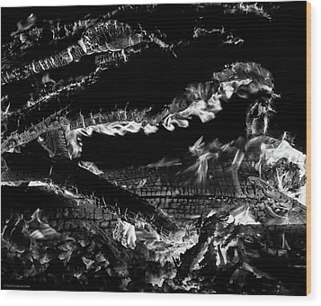 Wood Print featuring the photograph Fire Black And White by Britt Runyon