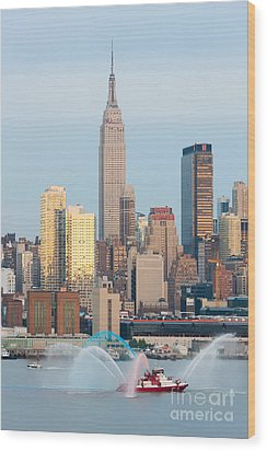 Fire Boat And Manhattan Skyline IIi  Wood Print by Clarence Holmes